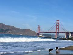 Plage de San Francisco avec vue sur le Golden Gate Bridge