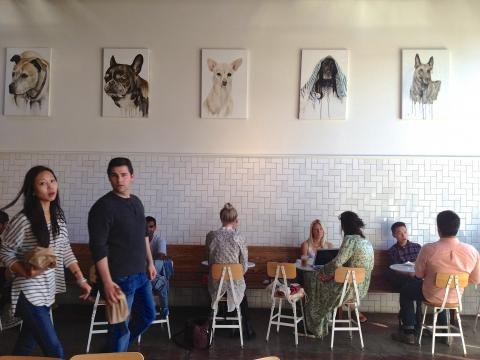 Photo : Bar avec client devant leur ordinateurs et posters de chien