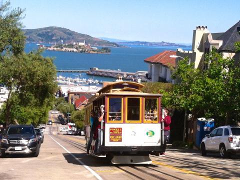 Photo :Cable Car au dessus de la baie de San Francisco