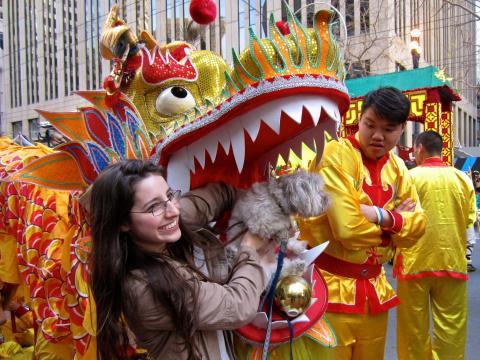 Photo : 2 participants au défilé du Nouvel An Chinois avec dragon et chien